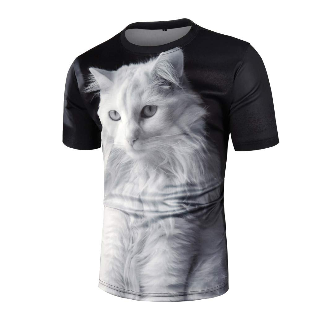 KINGOL Mens Summer Casual T-Shirt Geometry Animal Print Have Personality Sport Breathable Top Blouse