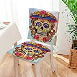 Mikihome Chair Pads 2 Piece Set The Dead Decor Cute Lady Mommy Skull Head with Flower Hat Spanish Mexican Garden Home Kitchen Mat:W17 x H17/Backrest:W17 x H36