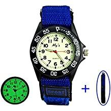 Kids Children Velcro Nylon Strap Luminous Outdoor Sports Analog Display Watch For Boys Girls Blue