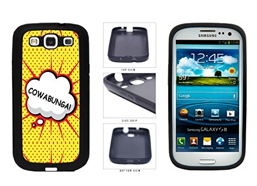Cowabunga Comic Text TPU RUBBER SILICONE Phone Case Back Cover Samsung Galaxy S3 I9300 comes with Security Tag and MyPhone Designs(TM) Cleaning Cloth