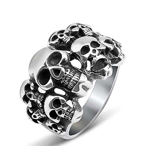 BAVAHA Mens Stainless Steel Punk Alien Skeleton Lot Heads Skull Ring Male Pirate Viking Biker Halloween(12,Silver)]()
