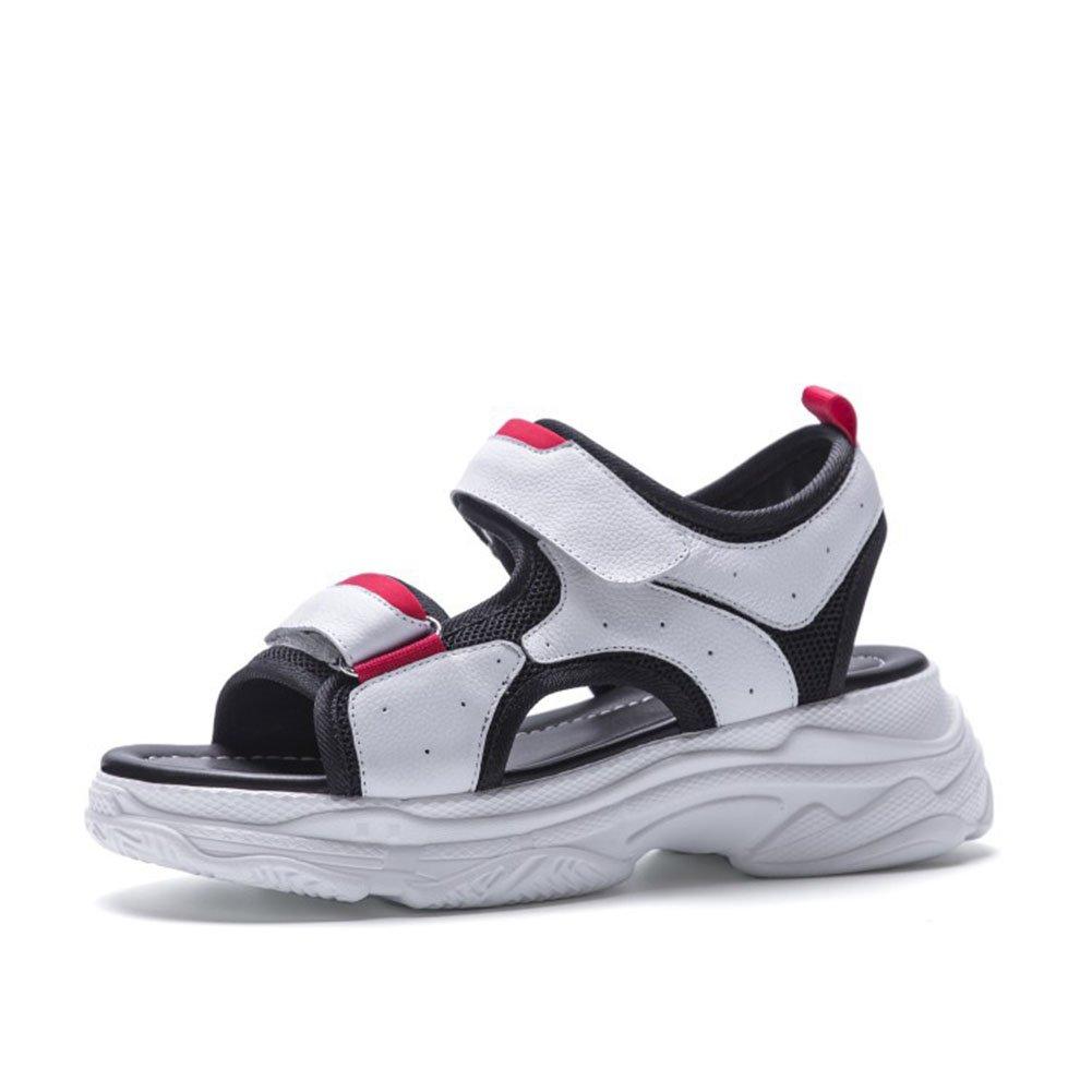 Damenschuhe 2018 Hot Summer Sandalen Casual Muffin Heel Flatform Mauml;dchen Schuhe Leder Stitch Velcro Sandalen Damen Sandalen (Color : Weiszlig;, Grouml;szlig;e : 37)  37|Wei?
