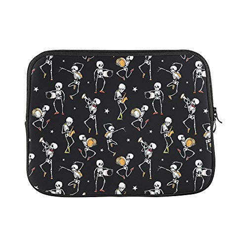 Solo Smart Strap Portfolio - Design Custom Vector Dark Black Dancing and Playing Music Skelet Sleeve Soft Laptop Case Bag Pouch Skin for MacBook Air 11