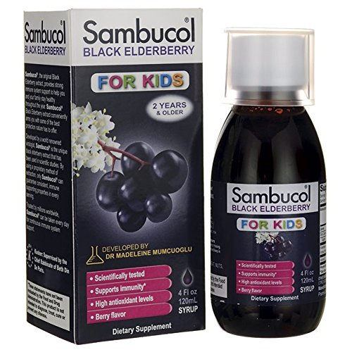 Sambucol Black Elderberry for Kids, 4 Ounce Bottle, High Antioxidant Black Elderberry Extract Syrup for Immune Support, Children's Formula (Sambucol Syrup Elderberry)