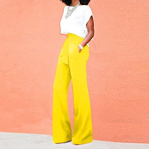 Gelb Mujer Mujeres Anchas Libre De Cómodo Tela Pantalones Anchos Elegante Casuales Señoras Con Pants Moda Pantalon Cinturón Tiempo Cintura Unicolor Alta qRzHwxRt