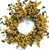 Yellow and Green Berry Wreath for Front Door Spring Wreath Indoor Decorative Accessory
