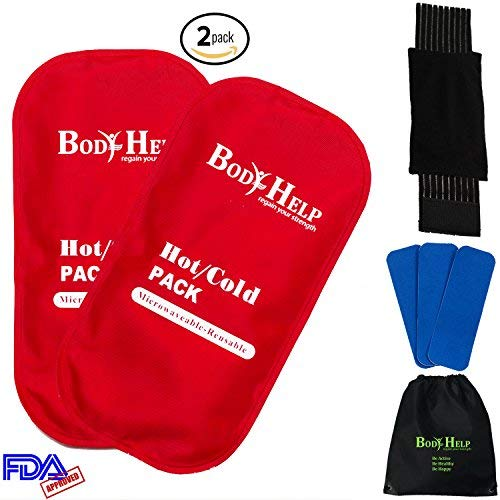 BODY HELP Flexible Reusable Ice Gel Packs 2PCS for Immediate Pain Relief + Wrap + 3 Kinesiology Tapes + Bag - Best Hot Cold Compress Therapy Heating Pad for Arthritis Headacke Knee Ankle Wrist Pain