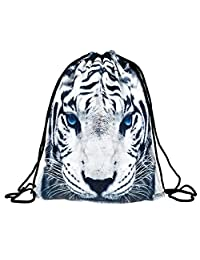 Drawstring Backpack Rucksack School Book Bags Gymbag White Tiger [010]