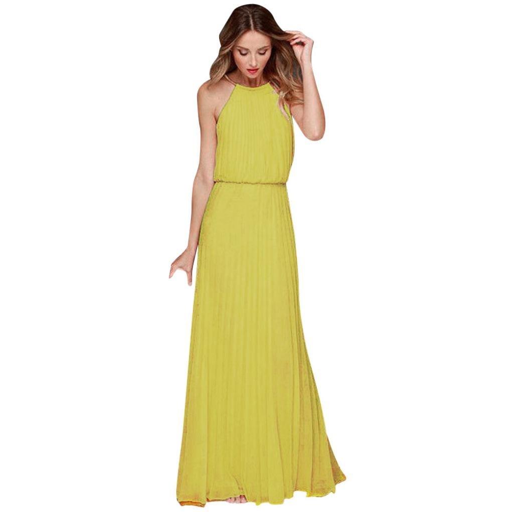 4cd3db72033 Amazon.com  Usstore® Women Dresses Chiffon Halter Strap Party Evening  Summer Long Maxi Dress For Women  Sports   Outdoors