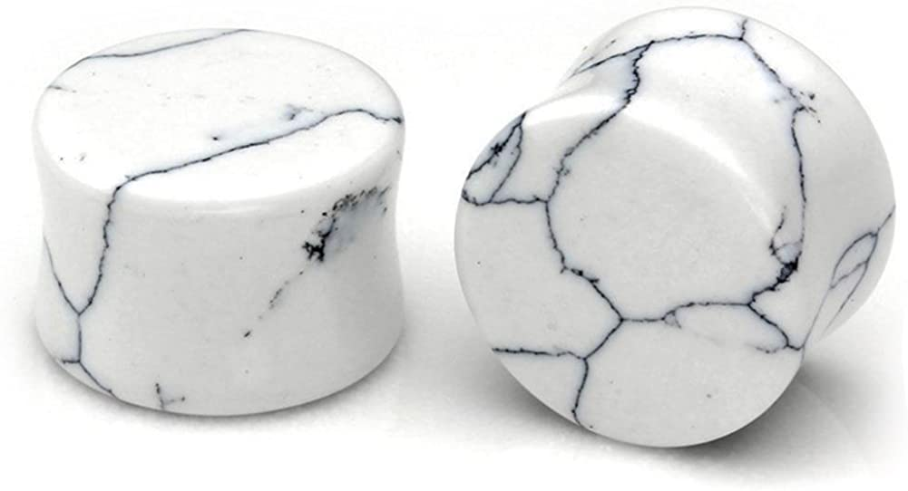 HQLA 1 Pair White Howlite Organic Natural Stone Double Flared Flesh Tunnels Ear Plugs Gauges Stretcher Expander