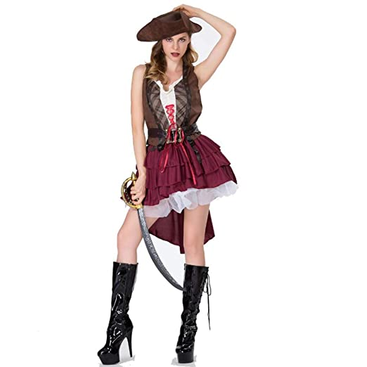 TUWEN Show De Halloween Disfraz Jack Azafata Disfraz Pirata ...