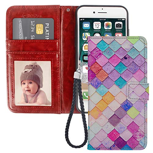 (JQLOVE Apple iPhone 6/6S Plus Wallet Phone Case, Colorful Fish Scales Series PU Leather Flip Magnetic Clasp Multi-Card Slot Stand Holder Cover Wallet Case for iPhone 6/6S Plus)