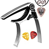 Capo,Guitar Capo for Acoustic and Electric Guitars, Zinc Alloy- Quick Change Guitar Capo (MS-20 Silver) & Free Pick and pick necklace