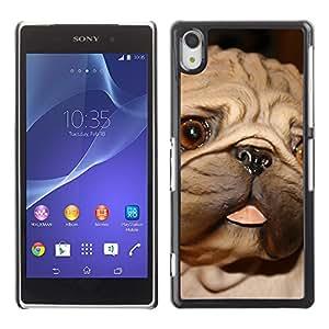 Paccase / SLIM PC / Aliminium Casa Carcasa Funda Case Cover para - Pug Tongue Big Brown Eyes Dog Small - Sony Xperia Z2 D6502 D6503 D6543 L50t L50u