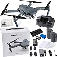 DJI Mavic Pro Collapsible Quadcopter Drone Essential Videographer Bundle Includes Remote Controller, Intelligent Flight Battery, 8330 Folding Propellers, 16GB microSD Card, Micro-USB Cable & More