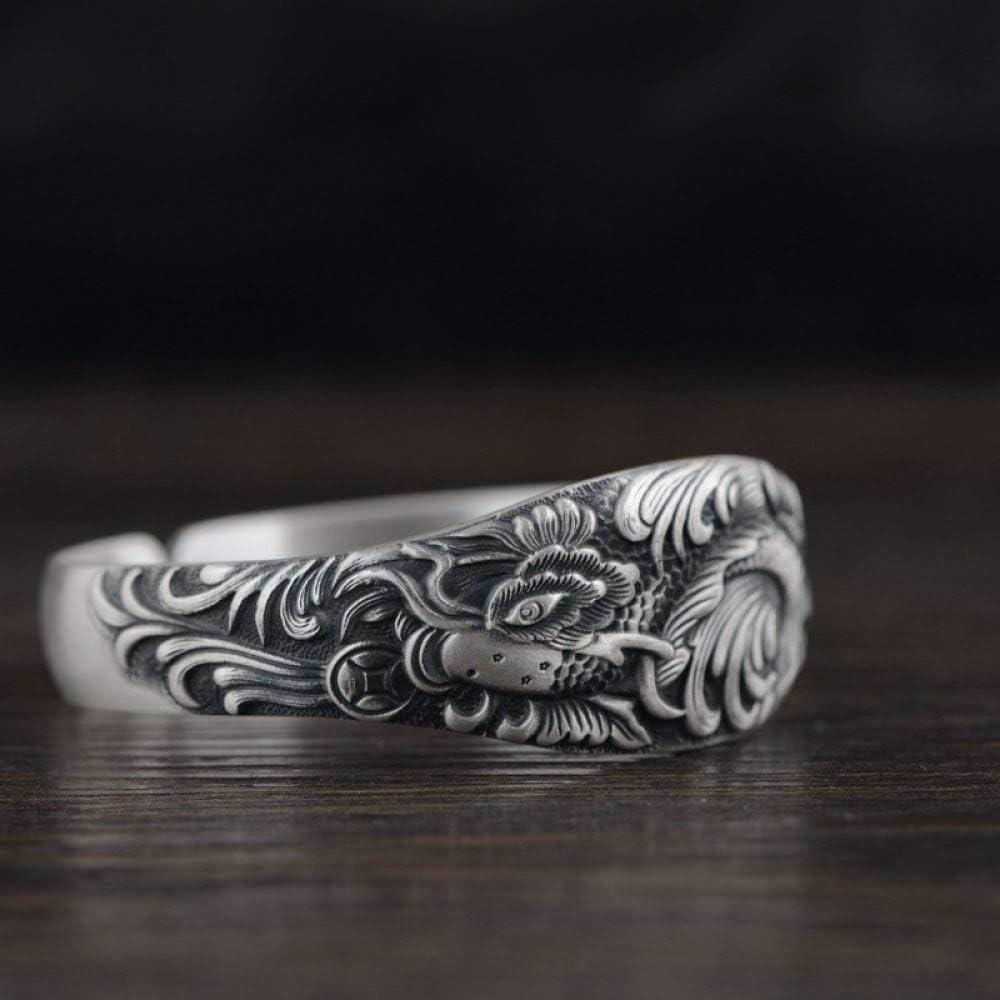 ZLININ Y-longhair S925 - Pulsera de plata para mujer, diseño vintage en relieve abierto en 3D, peonía ancha creativa tallada con temperamento y personalidad, regalo chino clásico