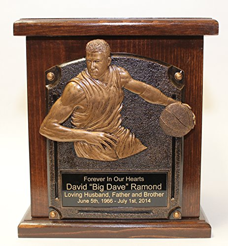 Basketball Adult Memorial Wood Cremation Urn-Sports Funeral Urns w/Personalization (Basketball Appliance)