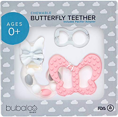 BABY GIRL GIFTS - TEETHING TOYS BPA FREE - Silicone Butterfly Pacifier Clip On Teether With Chewable Beads, Unique Baby Shower Registry Gift for Newborn Infant Girls   -