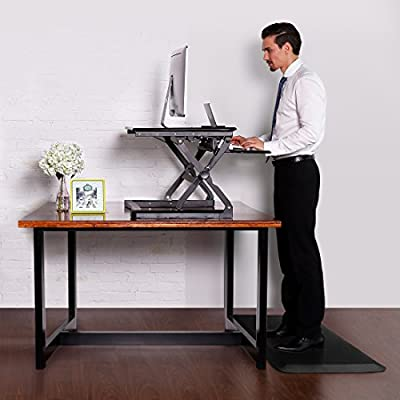 "FlexiSpot Desktop Workstation Combo, 35"" Standing desk Riser with Anti-fatigue Comfort Kitchen Floor Mat-Black"