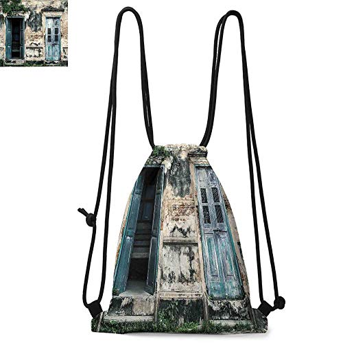 (Rustic Durable Drawstring Backpack Doors of Old Rock House with French Frame Details in Countryside European Past ThemeSuitable for carrying around W13.8 x L17.7 Inch Teal Grey)
