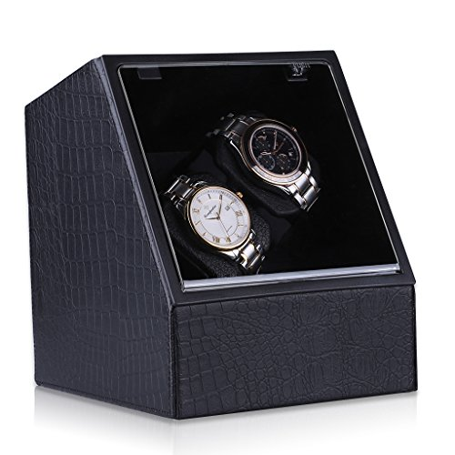 CRITIRON 2 Automatic Watch Winder PU Leather 4 Rotation Modes Storage Display Case Black