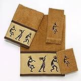 Avanti Linens Kokopelli  Embroidered 4-Piece Decorative Towel Set Nutmeg