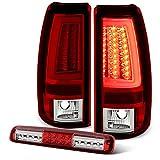 For 2003-2007 Chevy Silverado GMC Sierra Red LED Light Tube Tail Brake Lights + 3rd High Mount Cargo Lamp