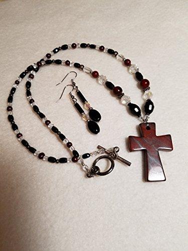 Mahogany Obsidian Cross Necklace and Earring