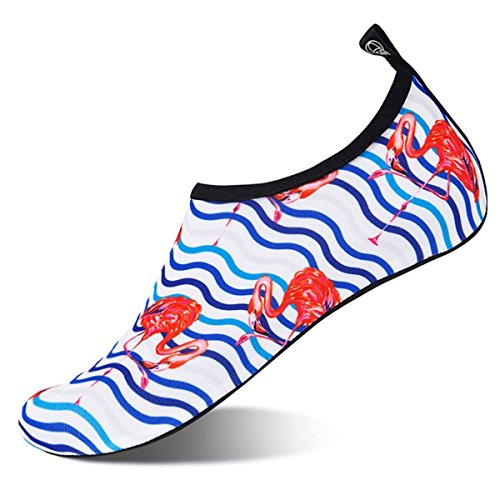 Womens and Mens Water Shoes Barefoot Quick-Dry Aqua Socks for Beach Swim Surf Yoga Exercise (Flamingo/Waves, XXL) by WateLves