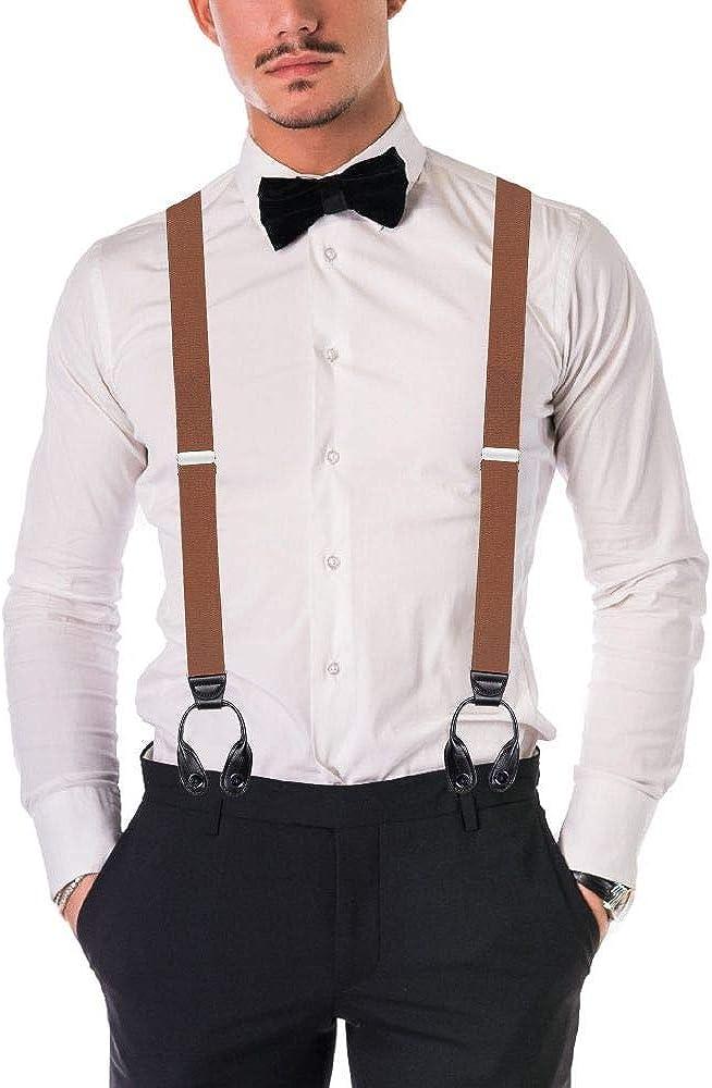 Buyless Fashion 48 El/ástico Ajustable 1 1//4 De Los Hombres Y El Bot/ón Trasero Suspender Fin