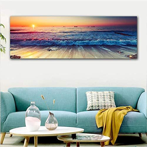 Lienzo De Pintura Acci/ón De Gracias Cuadro En Lienzo Playa Barco Mar Pared Arte Cartel E Impresi/ón Decoraci/ón Del Hogar Sala Imagen 30X90Cm Sin Marco