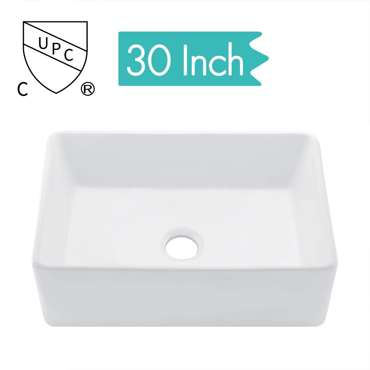 KES cUPC Fireclay Sink Farmhouse Kitchen Sink (30 Inch Porcelain Undermount  Rectangular White) BVS117