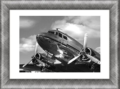 Airplane Aviation Military Wall Art Framed Picture / DC-3 Dakota Wall Decor / Vintage Propeller Aircraft Painting Poster Print / Gift For Pilot Mariner Aviation Fan 12 by 16 Inches