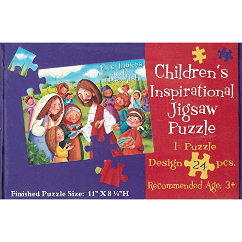 Five Loaves and Two Fish 11 x 8 Cardboard 24 Piece Childrens Puzzle and Devotion (Childrens Puzzles Religious)