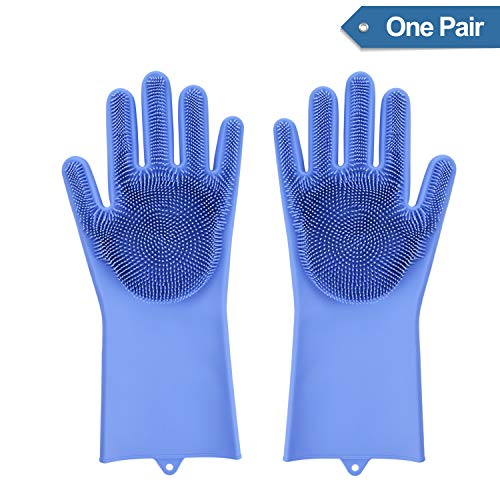 Magic Dishwashing Gloves with scrubber, Silicone Cleaning Reusable Scrub Gloves for Wash Dish,Kitchen, Bathroom(Blue,1 Pair: Right + Left Hand)