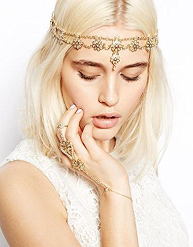 Hypnotique Antique Rhinestone and Imitation Pearl Gold-tone Fashion Headband Head Chain (Dance Costumes On Line)