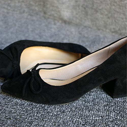 Pompes Bout Talon Med Plate Pointu de de Place Forme Mode Noir Chaussures Mariage Troupeau Femmes Chaussures 0zgqRwBSq