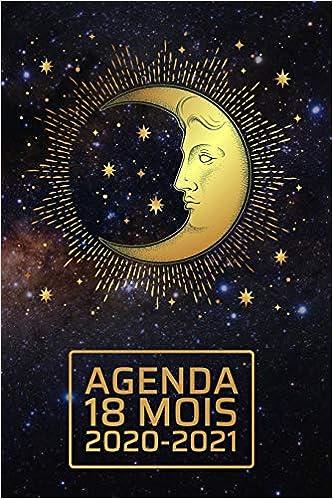 Calendrier Lune Juin 2021 Agenda 18 Mois 2020 2021: Céleste élégant   lune et étoiles