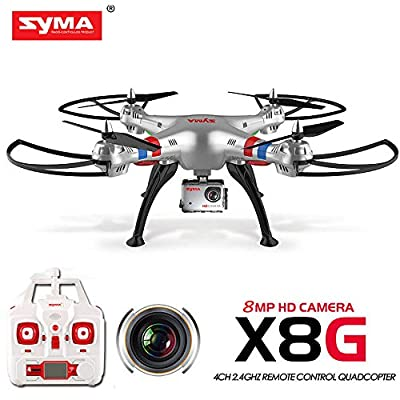 Syma X8G Headless 2.4Ghz 4CH RC Quadcopter with 8MP HD Camera (Silver) by Syma