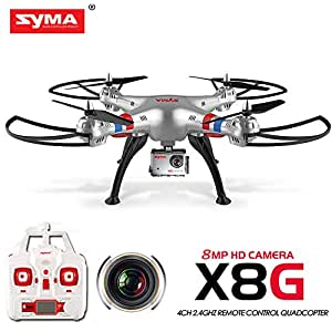 Syma X8g 2.4g 4ch 6 Axis Drone with 8mp 1080p Action Hd Camera, Rc Quadcopter RTF Helicopter