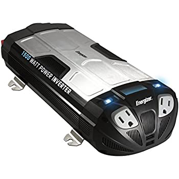 ENERGIZER 1500 Watt Power Inverter converts 12V DC from car's battery to 120 Volt AC with 2 USB ports 2.1A shared compatible with iPad iPhone