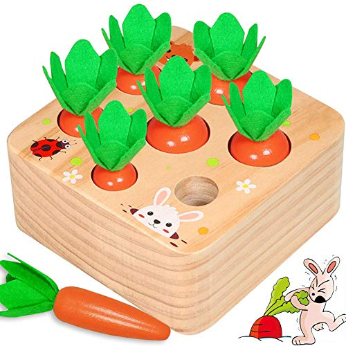 JOCCIK Wooden Montessori Toys for Toddlers, Educational Toys Shape Sorting Matching Puzzle Carrot Harvest Game Baby Toys for 1 2 3 Year Old Boys and Girls