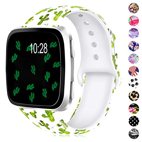 Humenn Bands Compatible with Fitbit Versa,Soft Silicone Fadeless Pattern Printed Wristband Versa Smart Fitness Watch, Women Men (Cactus, Small) (Cactus Band)