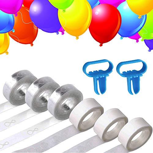 (QLINLEAF 3 Rolls Balloon Garland Arch Strip Tape (49ft) & 3 Rolls Balloon Decorative Glue Points£¨300pcs & 2pcs Tying Tool Set for Party Decoration DIY Wedding Birthday Baby Shower)