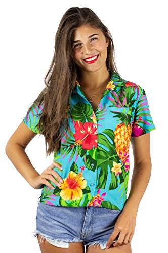 (Funky Hawaiian Shirt Blouse, Shortsleeve, Pineapple, Turquoise, XXL)