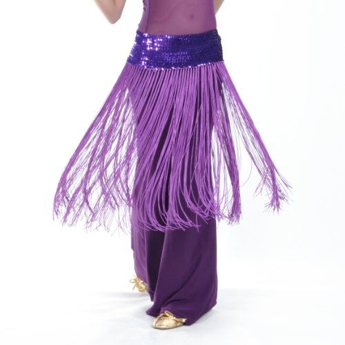 BellyLady Belly Dance Hip scarf, Sequined Fringe Skirt Wrap, Christmas Idea PURPLE -