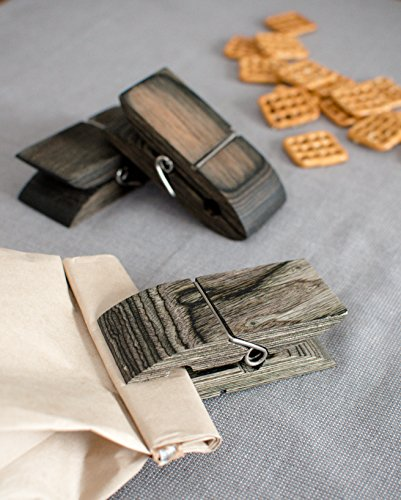 Exotic Pakka Wood Bag Clips Set of 5 - Earth Friendly Material - by Crate Collective (Beechnut) by Crate Collective (Image #2)
