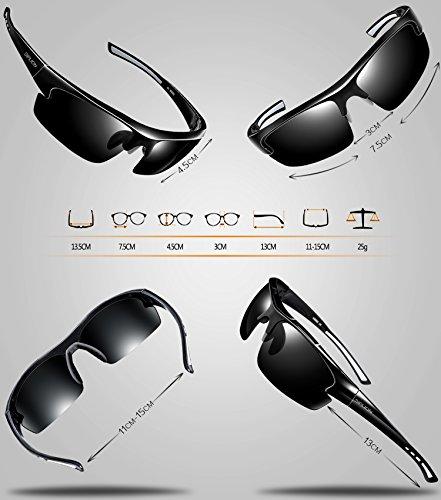 3807d97253 SIPLION Men s Polarized Sunglasses Sports Glasses for Cycling Fishing Golf  TR90 Superlight Frame 502 BLACK
