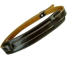 Guitar Strap Bass Mugig Adjustable Real Leather with Shoulder Pad (Brown)