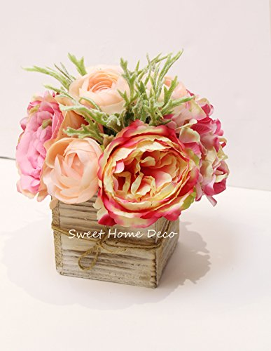 Sweet Home Deco 8'' Silk Rose Peony Hydrangea Mixed Flower Arrangement w/ Wood Vase Wedding Home Decorations (Pink) (Peony Floral Arrangement)